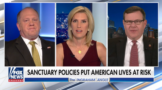"A screen grab from Fox News' ""The Ingraham Angle"" on March 20. Host Laura Ingraham is joined by Tom Homan, a former acting ICE director, left, and NC  House Speaker Tim Moore."