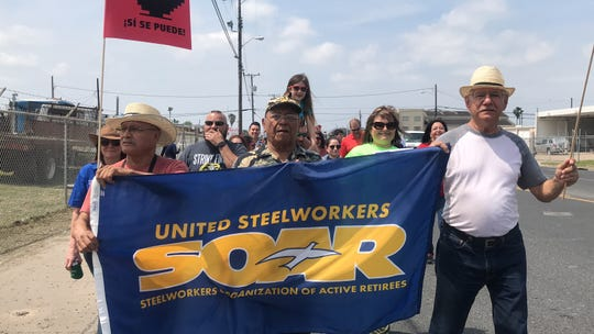 Community members rallied to celebrate and honor late labor and civil rights activist Cesar Chavez at the 20th annual Cesar Chavez Marcha in Corpus Christi on Saturday, March 30, 2019.
