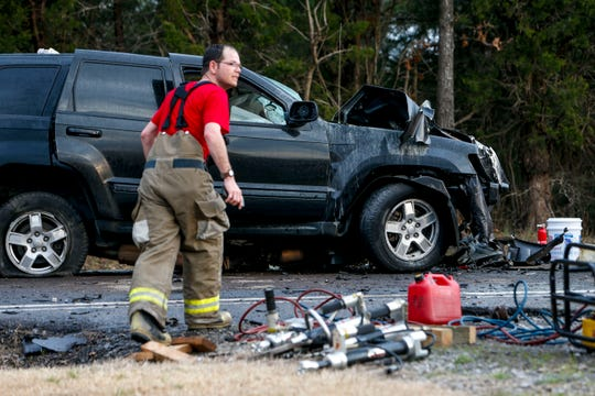 A black Jeep that was a part of a wreck that killed two and left one critically injured sits with it's drivetrain dropped out of the vehicle on Lylewood Road near John Taylor Road in Woodlawn, Tenn., on Friday, March 29, 2019.