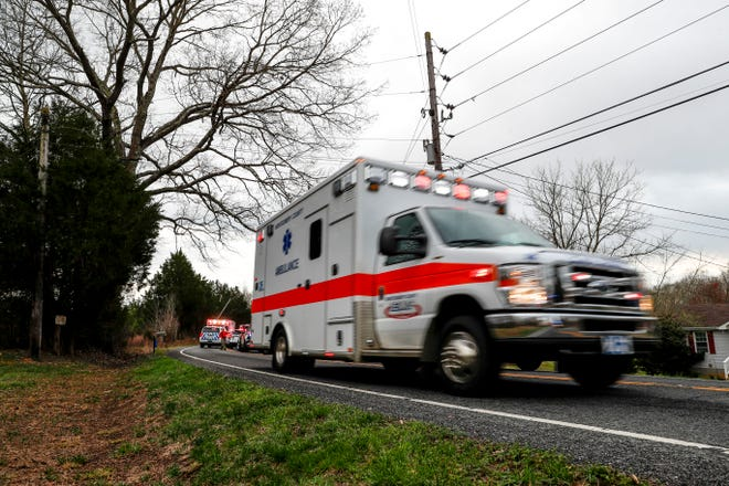 An ambulance leaves the scene of an incident in Montgomery County.