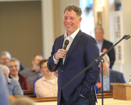 NY Giants head coach Pat Shurmur spoke at the Men's Lenten Afternoon of Prayer in the Year of Spiritual Awakening at St. James RC Church in Basking Ridge on March 30, 2019.