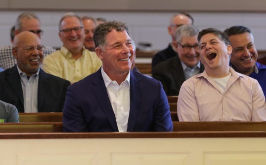 NY Giants Head Coach Pat Shurmur before he spoke at the Men's Lenten Afternoon of Prayer in the Year of Spiritual Awakening at St. James RC Church in Basking Ridge on March 30, 2019.