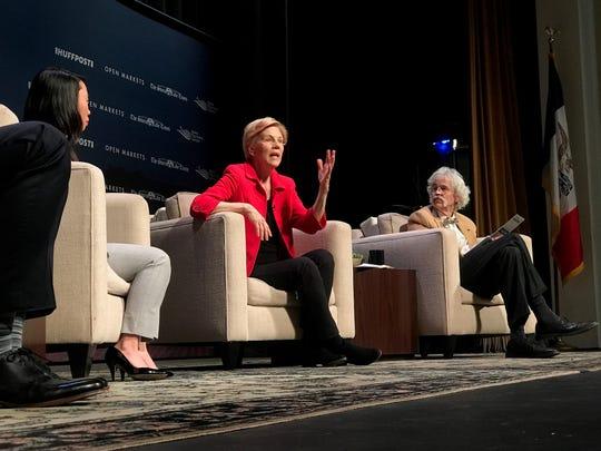 Massachusetts Sen. Elizabeth Warren speaks at the Heartland Forum in Storm Lake, Iowa Saturday.