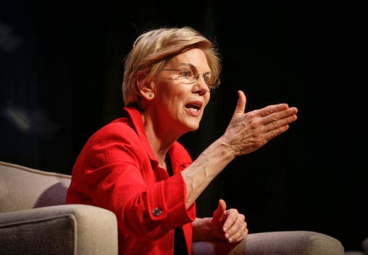 Democratic presidential candidate hopeful Elizabeth Warren speaks during the Storm Lake Times political forum in Storm Lake on March 30, 2019.
