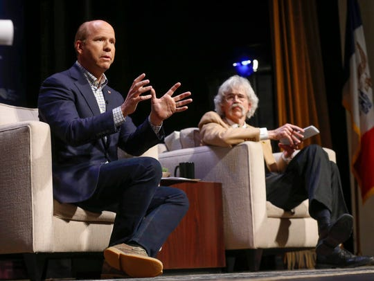 Democratic presidential candidate hopeful John Delaney speaks during the Storm Lake Times political forum in Storm Lake on March 30, 2019.