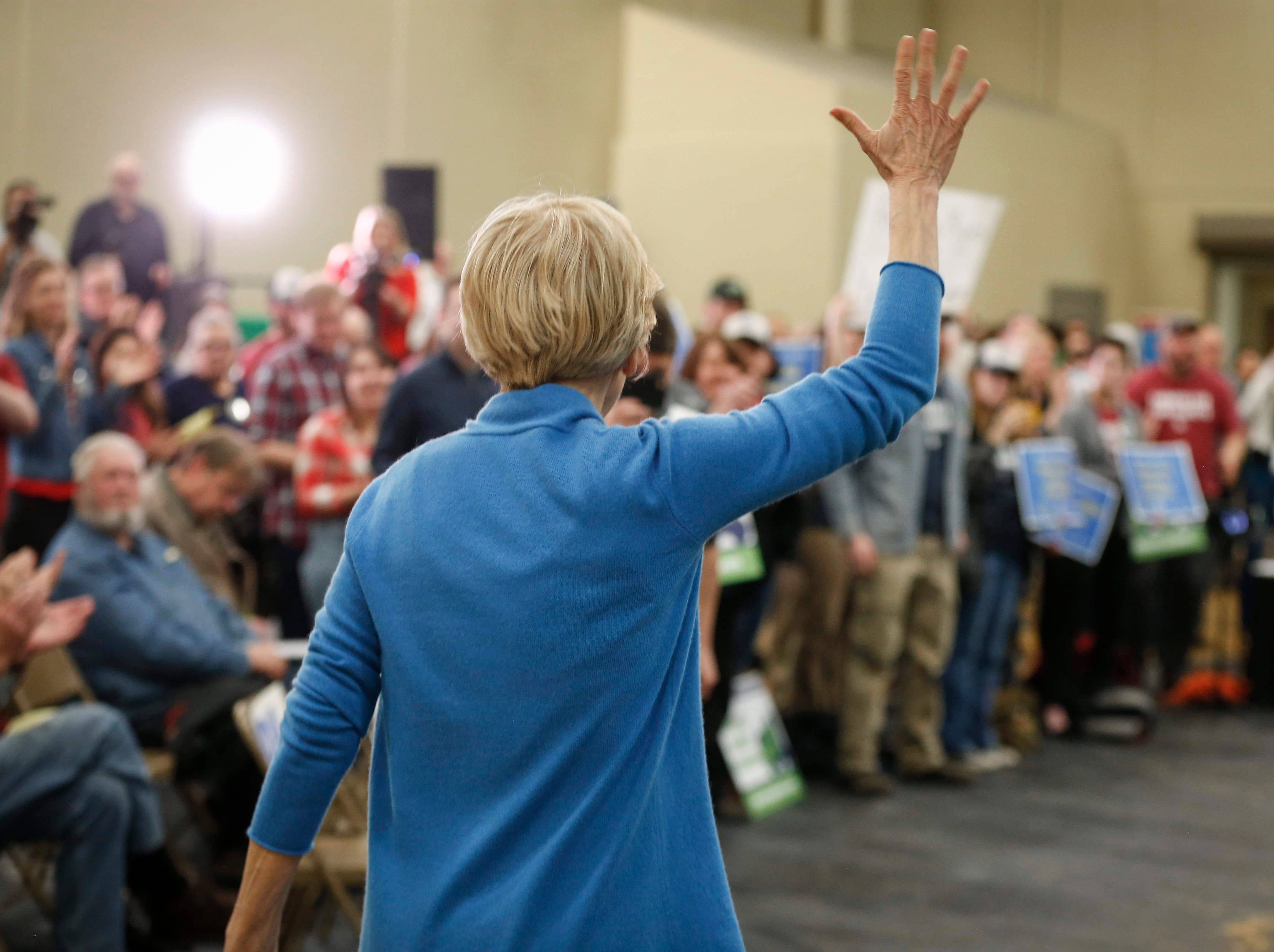 Democratic presidential candidate hopeful Elizabeth Warren greets supporters during the Family Farm Action rally in Storm Lake on March 30, 2019.