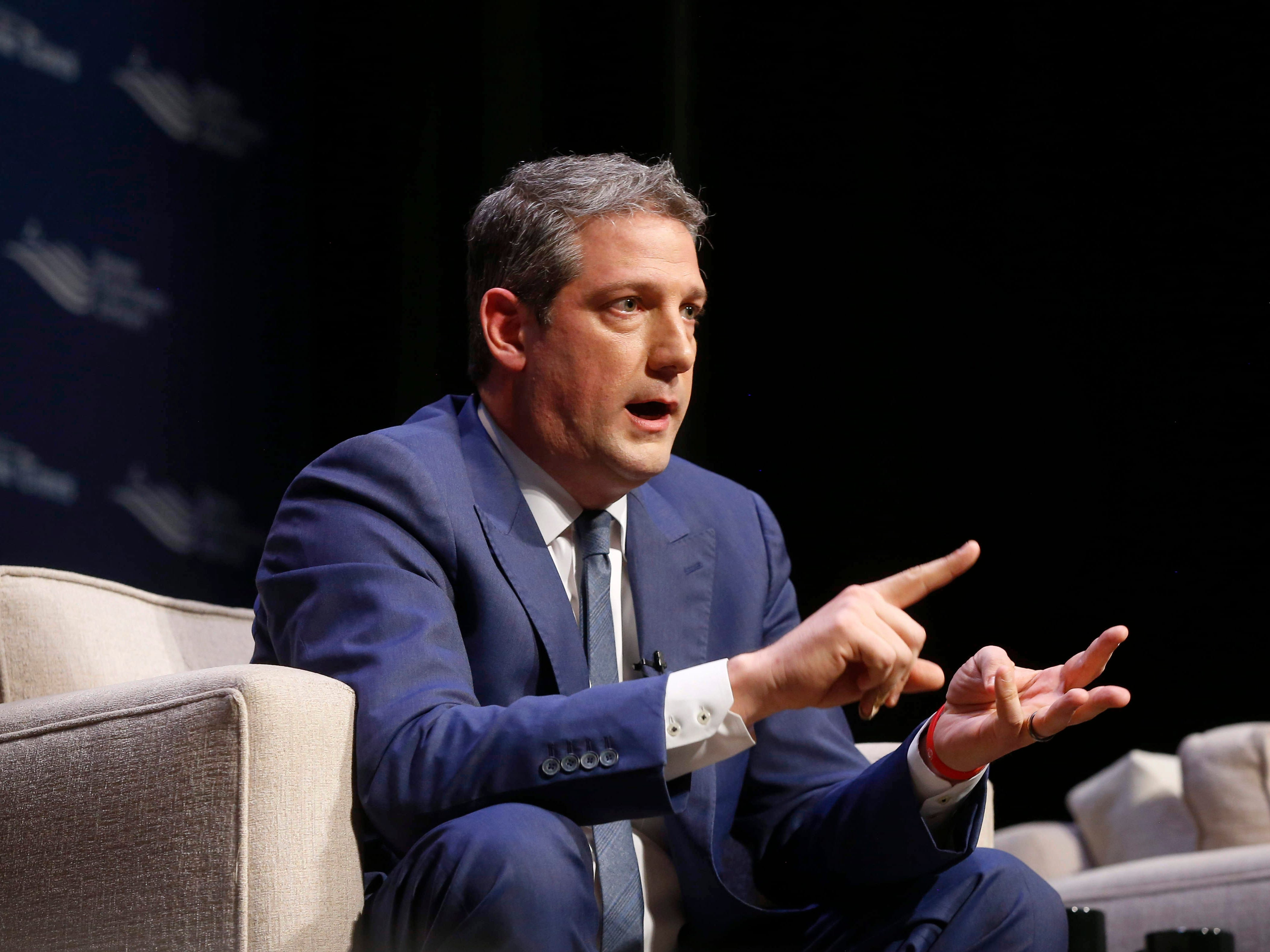 U.S. Representative Tim Ryan (D-Ohio) speaks during the Storm Lake Times political forum in Storm Lake on March 30, 2019.