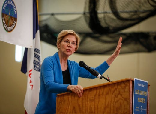 Democratic presidential candidate hopeful Elizabeth Warren speaks during the Family Farm Action rally in Storm Lake on March 30, 2019.