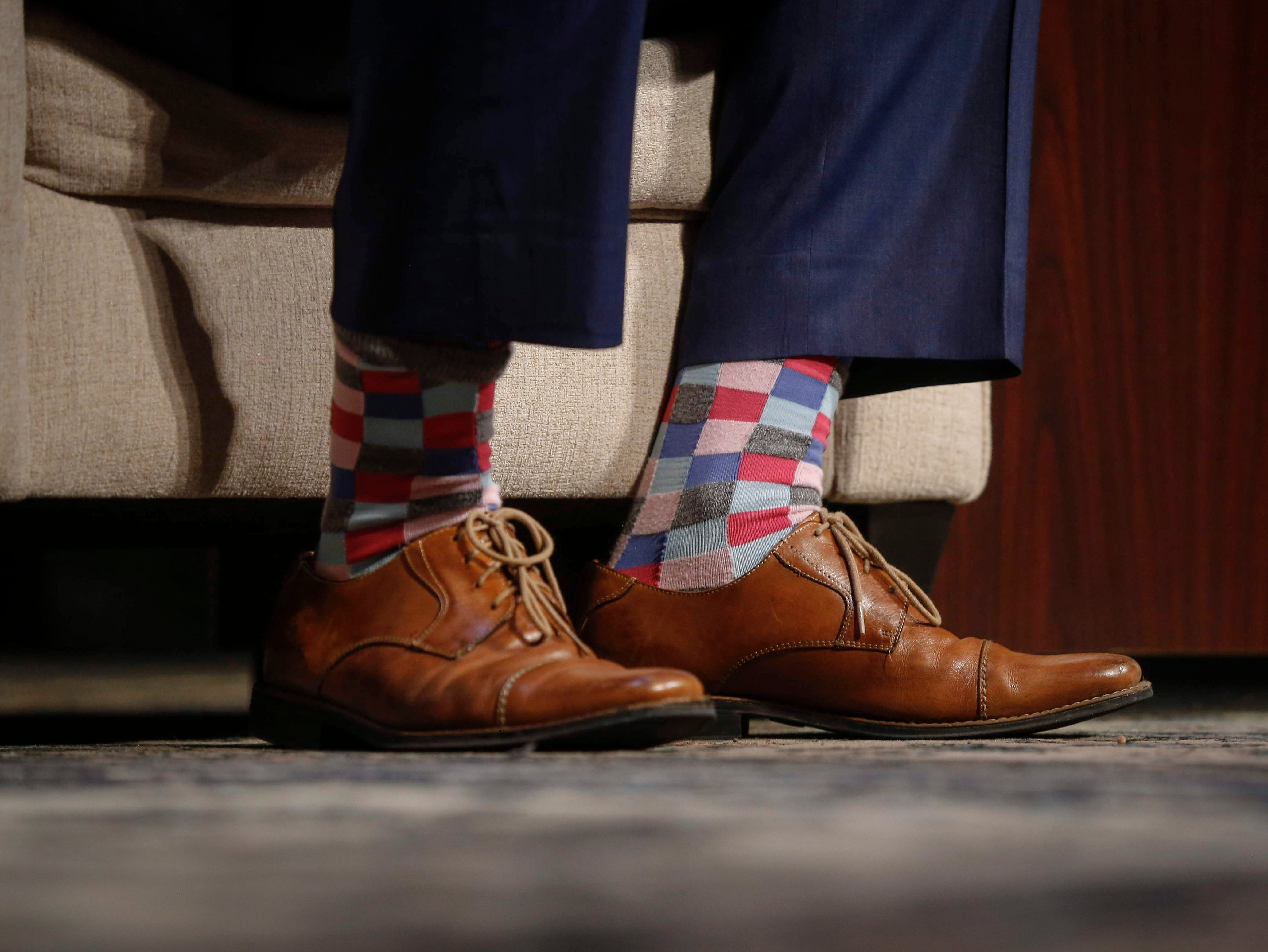 Colorful socks worn by U.S. Representative Tim Ryan (D-Ohio) during the Storm Lake Times political forum in Storm Lake on March 30, 2019.
