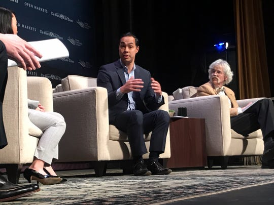 Former Secretary of Housing and Urban Development Julian Castro speaks at the Heartland Forum in Storm Lake Saturday afternoon.