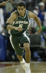 Michigan State's Chris Hill takes on Kentucky on Sunday, March 27, 2005 in Austin, Texas, at the NCAA tournament regional final.