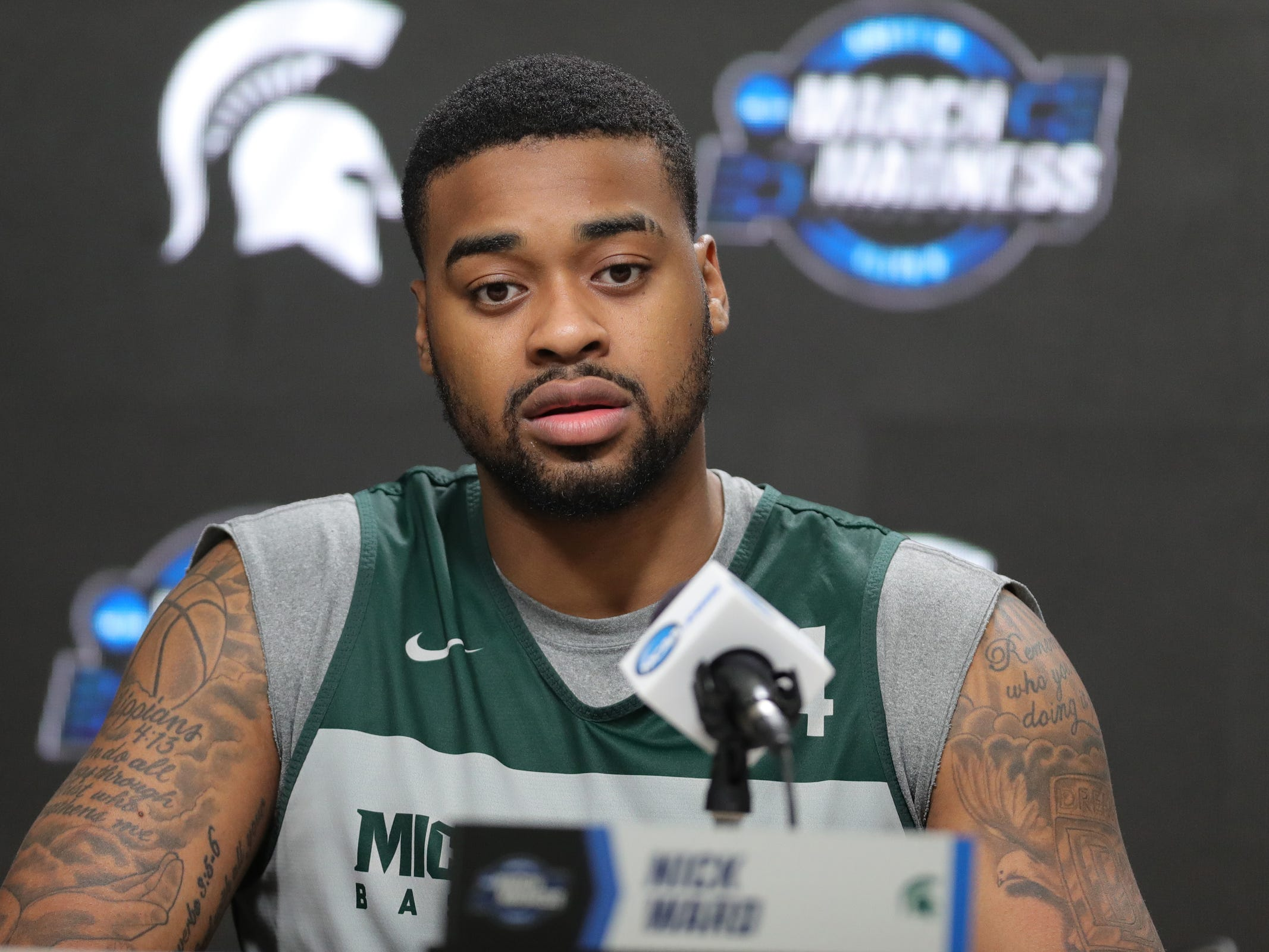 Michigan State's Nick Ward talks with reporters one day before their NCAA tournament game against Duke, Saturday, March 30, 2019 at Capital One Arena in Washington, D.C.