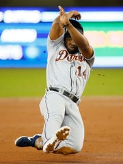 Detroit Tigers' Christin Stewart slides into third base against the Toronto Blue Jays in the second inning Saturday, March 30, 2019 in Toronto.