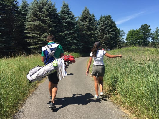 Ally Geer-Park, right, and her husband, Nick Park, teamed up in the first Augusta National Women's Amateur in Augusta, Ga., from April 3-6, 2019. Geer-Park is a junior at Michigan State.