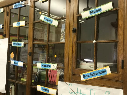 A cabinet in Welia Dawson's classroom at Paul Robeson Malcolm X Academy is decorated with African words.