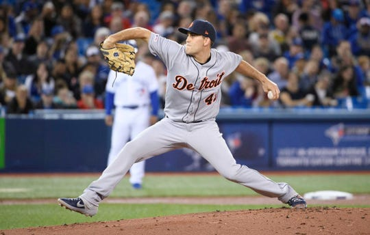 Tigers starting pitcher Matthew Boyd throws a pitch during the first inning on Friday, March 29, 2019, in Toronto.