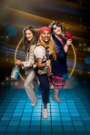 """Laura Moore, Rashna Sarwar and Steph Bedore in """"Mamma Mia!,"""" opening Friday at the Bonstelle Theatre."""
