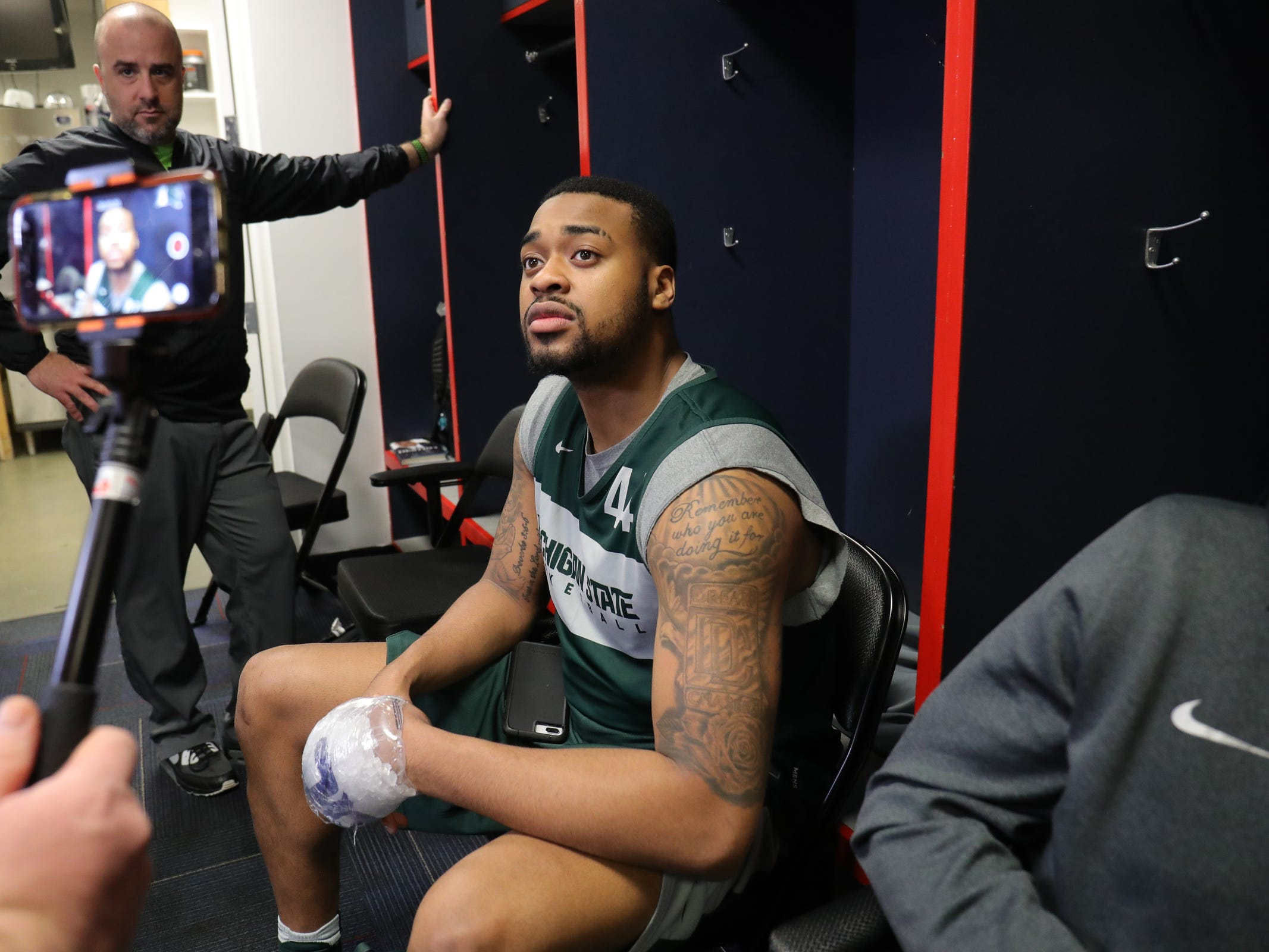 Michigan State's Nick Ward talks with reporters Saturday, March 30, 2019 at  Capital One Arena in Washington, D.C.