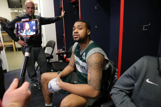 Nick Ward talks with reporters Saturday at Capital One Arena in Washington, D.C.