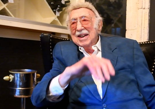 Detroit Jewish News restaurant columnist Danny Raskin, 100, st Steven Lelli's Inn on the Green, restaurant, in Farmington Hills, Michigan on March 26, 2019.