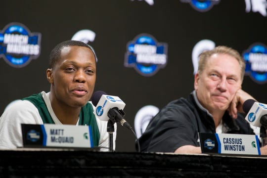 Michigan State guard Cassius Winston, left, next to head coach Tom Izzo, during a press conference.