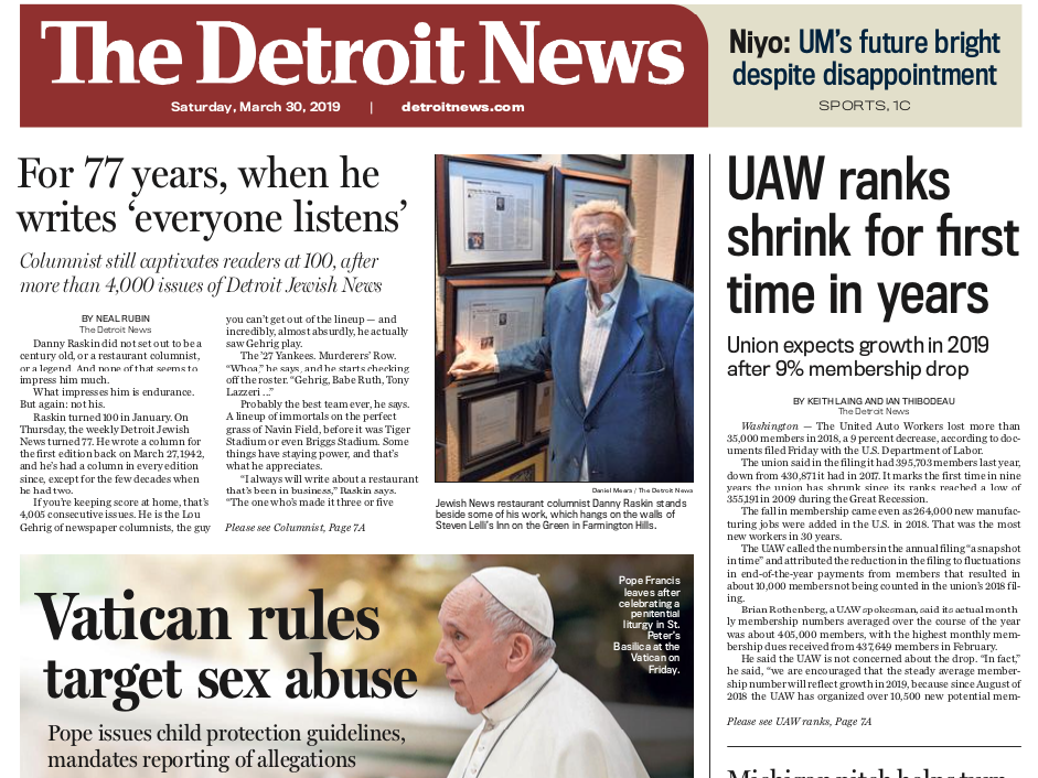 The front page of The Detroit News on Saturday, March 30, 2019