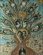This is a hand-painted family tree of the Haddad family on display at the Arab American National Museum in Dearborn.