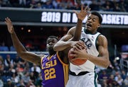 Michigan State's Xavier Tillman had eight rebounds in the win against LSU.