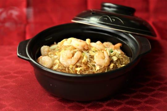 Shrimp with Angel Hair Noodle at the Szechwan Restaurant.