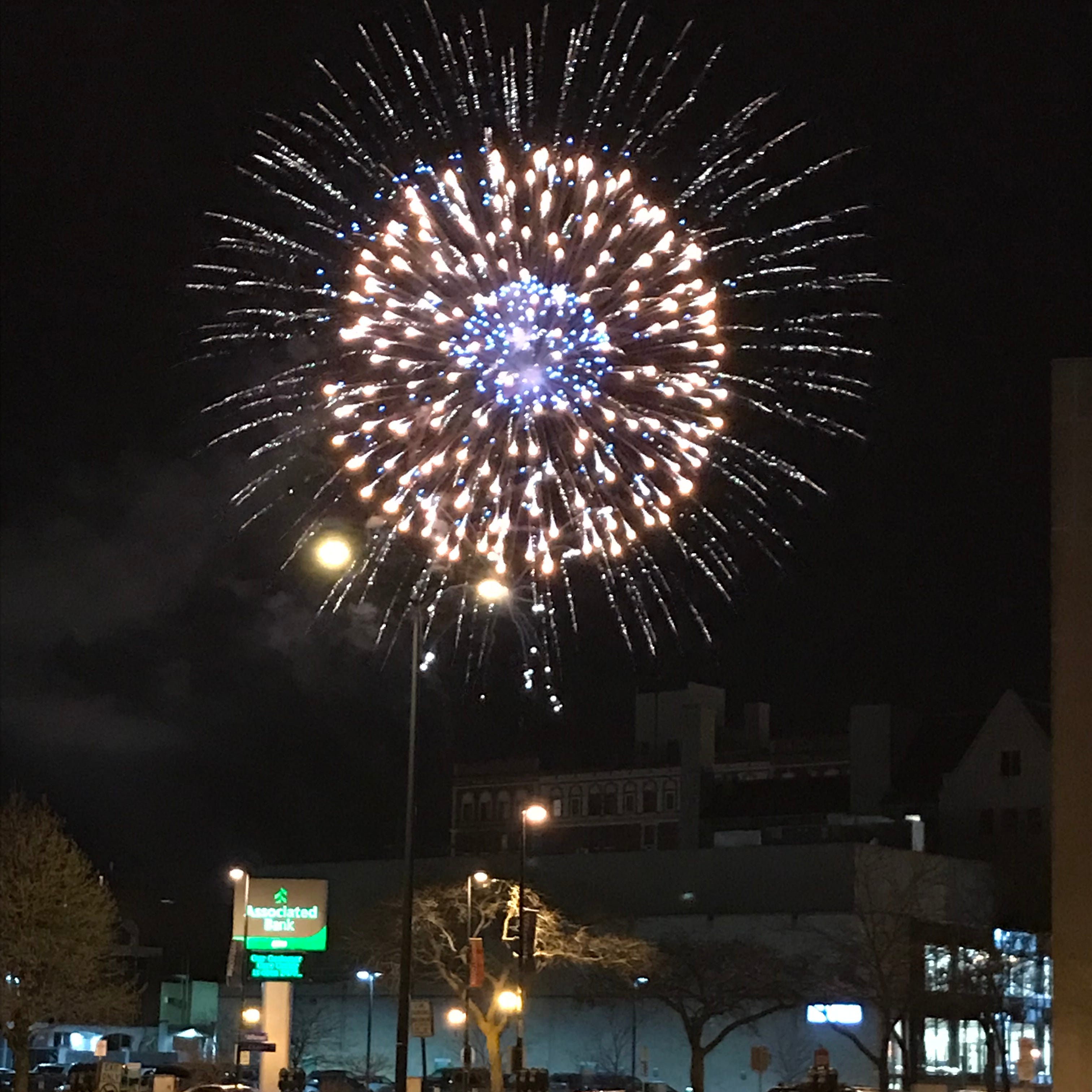 Fireworks explode in downtown Green Bay on Friday, March 29, 2019, as part of Mayor Jim Schmitt's gala.