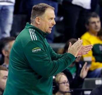 UWGB men's basketball head coach Linc Darner during a CollegeInsider.com Tournament quarterfinal against CSU Bakersfield on March 29, 2019 at the Kress Center in Green Bay, Wis.