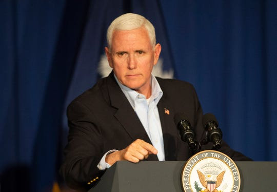 Vice President Mike Pence talks to the crowd gathered in the Greenville Marriott Saturday, Mar. 30, 2019 during Senator Lindsey GrahamÕs Upstate Kickoff Reception.
