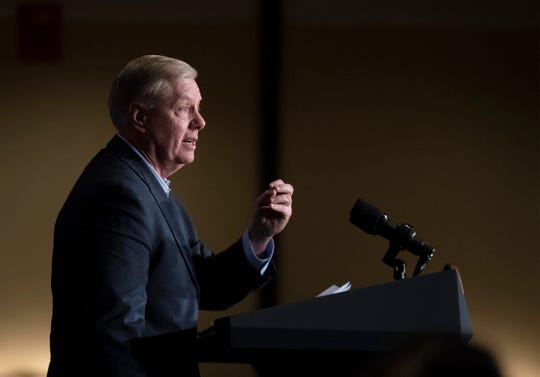 Sen. Lindsey Graham talks to the crowd gathered in the Greenville Marriott Saturday, Mar. 30, 2019 for his kickoff reception.