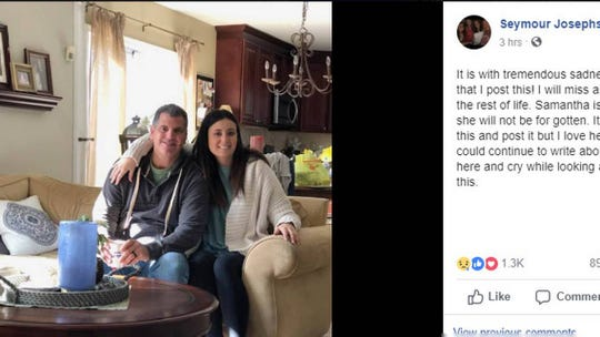 This is a screenshot of a Facebook post about missing USC student Samantha Josephson by her father, Seymour Josephson. The post was published at 5:13 a.m. Saturday, March 30, 2019, and was the first public confirmation that Samantha had died.