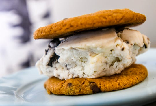 A dairy-free ice cream cookie sandwich prepared at the Asiga coffee shop in Tamuning on Wednesday, March 27, 2019. Dairy-free cookies and creme ice cream fills the gap between two vegan chocolate chip cookies to make up this frozen dessert.