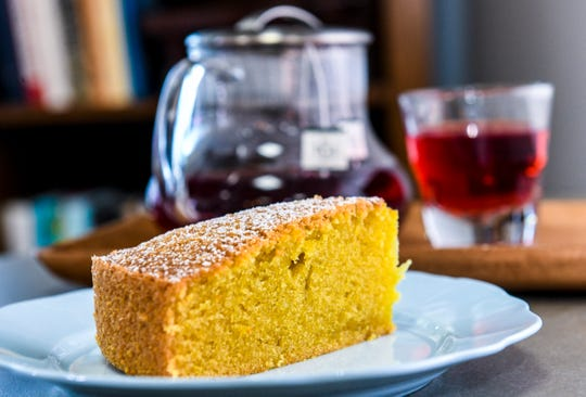 A slice of olive oil cake prepared at the Asiga coffee shop in Tamuning on Wednesday, March 27, 2019.