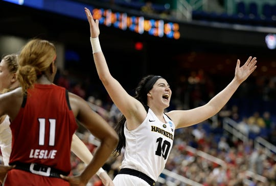 Megan Gustafson is shown during her final win as a Hawkeye, against North Carolina State in the Sweet 16 of the NCAA Tournament.
