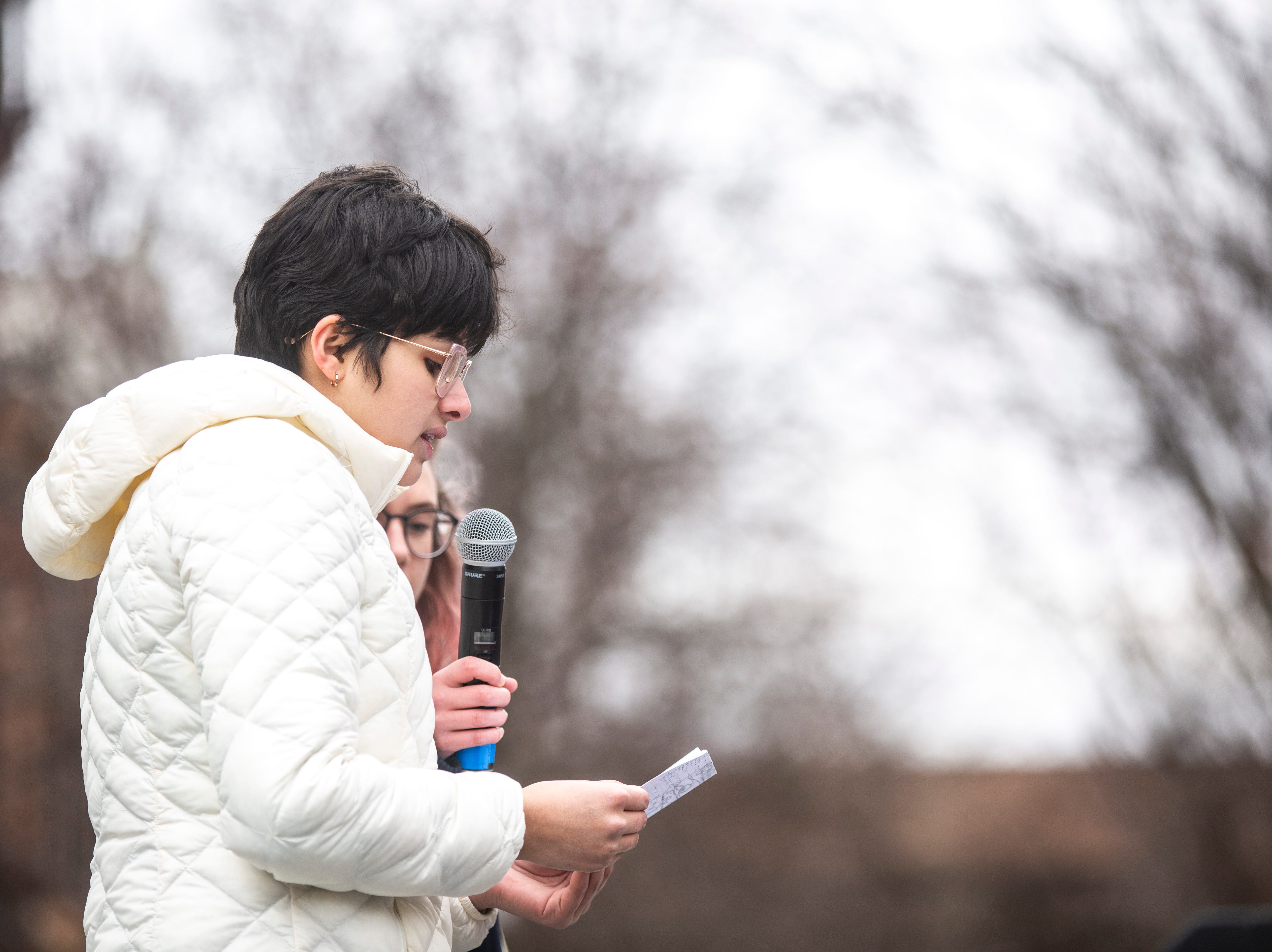 City High sophomore Shoshie Hemley speaks during an event organized by the Students Against School Shootings group on Saturday, March 30, 2019, along the pedestrian mall in downtown Iowa City, Iowa.
