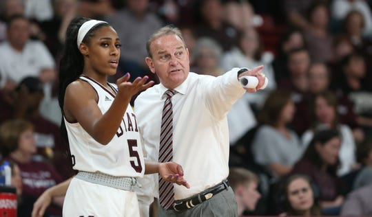 Mississippi State head coach Vic Schaefer and senior forward Anriel Howard have a second shot against Oregon. The Bulldogs and Ducks play in Sunday's Portland Regional Championship Game. Photo by Keith Warren
