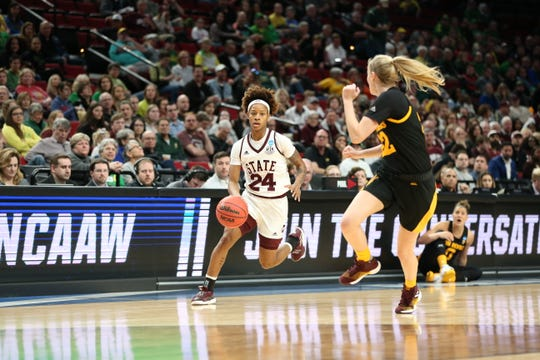Mississippi State senior guard Jordan Danberry was fearless with her takes to the basket in the Bulldogs' Sweet 16 game against Arizona State in Portland, Oregon, on Friday night.