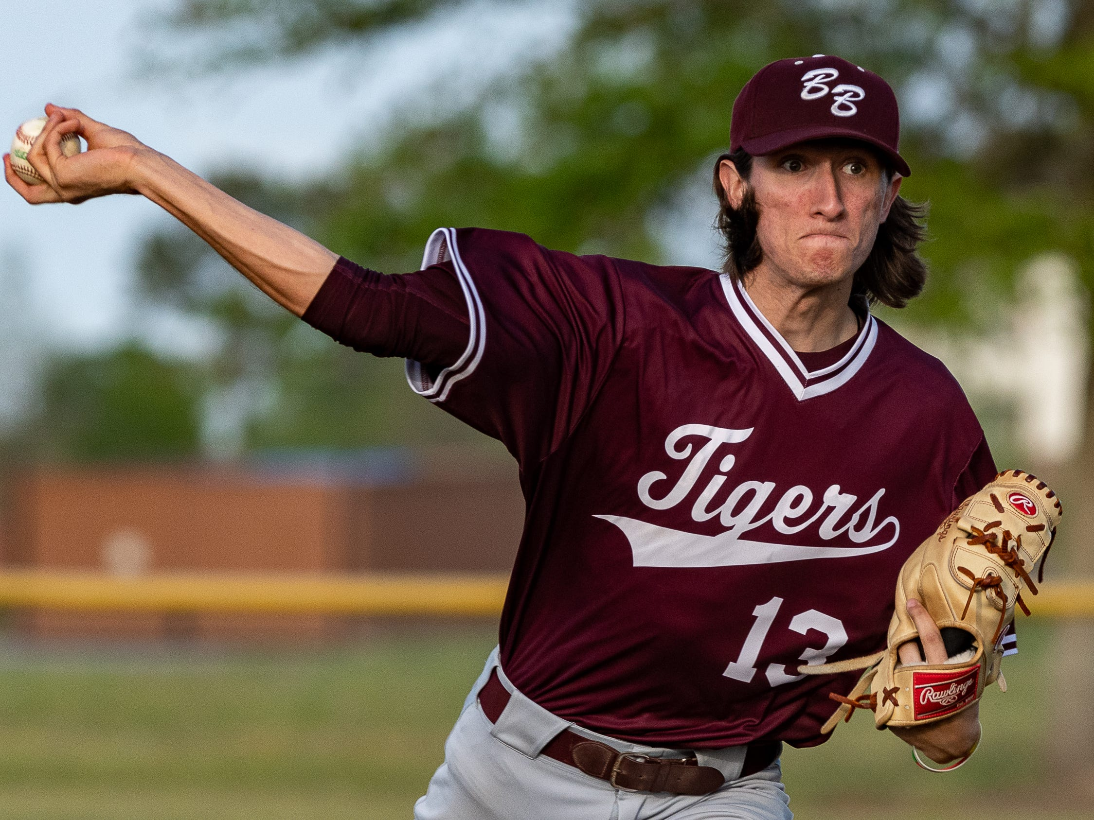 Tigers starting pitcher Caleb Seroski as Ascension Blue Gators host Breaux Bridge baseball. Friday, March 29, 2019.