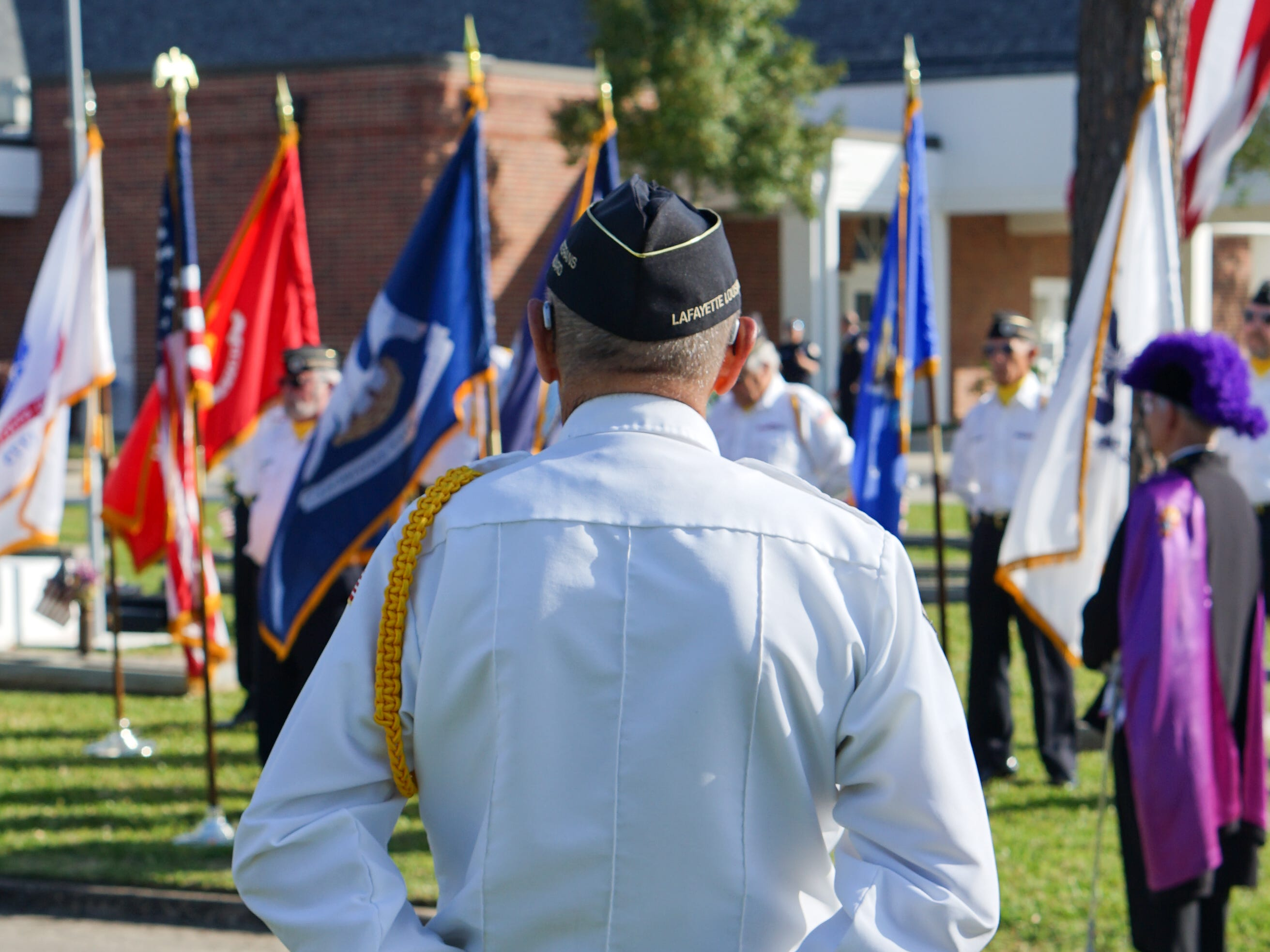 """Members of the Acadiana Veterans Honor Guard standby during the """"Welcome Home Vietnam Veterans"""" event at Fountain Memorial Funeral Home and Cemetery in Lafayette on Friday, March 29, 2019. The event honored those from the area who served in the Vietnam War."""
