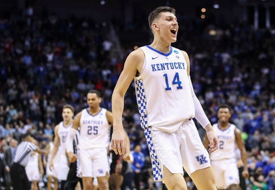 Kentucky's Tyler Herro celebrates after he hit the three that put the Wildcats up over Houston late in the Sweet Sixteen to advance to the Elite Eight. Herro finished with 19 points. March 29, 2019