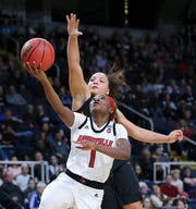 U of L's Dana Evans (1) and Elizabeth Balogun were selected to the 2019-2020 Preseason All-ACC Team.