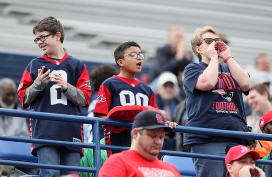 Fans watch as the Memphis Express take on the Orlando Apollos at the Liberty Bowl Memorial Stadium on Saturday, March 30, 2019.
