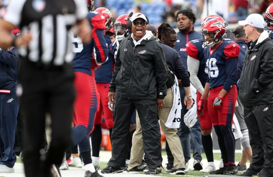 Memphis Express Head Coach Mike Singletary yells out to the referee from the sidelines during their game against the Orlando Apollos at the Liberty Bowl Memorial Stadium on Saturday, March 30, 2019.