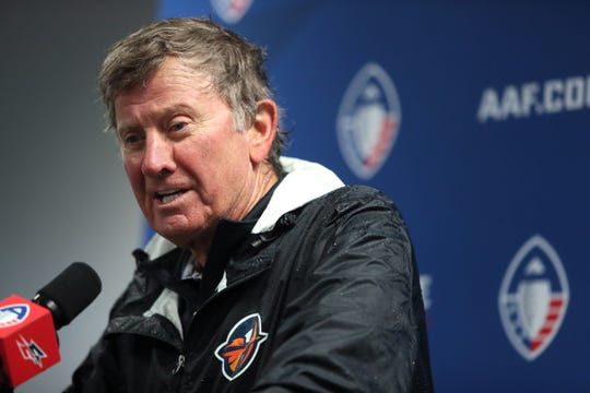 Orlando Apollos Head Coach Steve Spurrier speaks to the media during a press conference after their win over the Memphis Express at the Liberty Bowl Memorial Stadium on Saturday, March 30, 2019.
