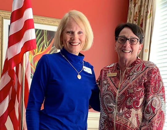 DAR program director, Ellen Camm, with guest speaker, Pat Rutledge, Marco Island Historical Society executive director.