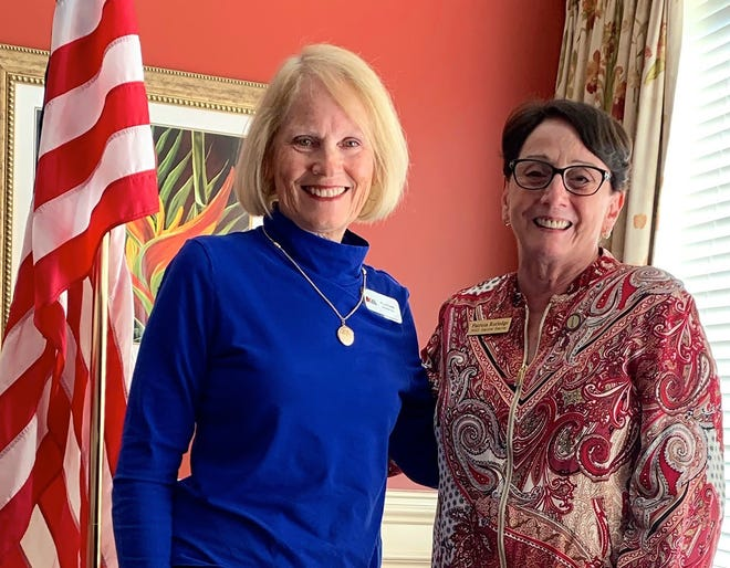 DAR program director, Ellen Camm, with guest speaker, Pat Rutledge, Marco Island Historical Society executive director.