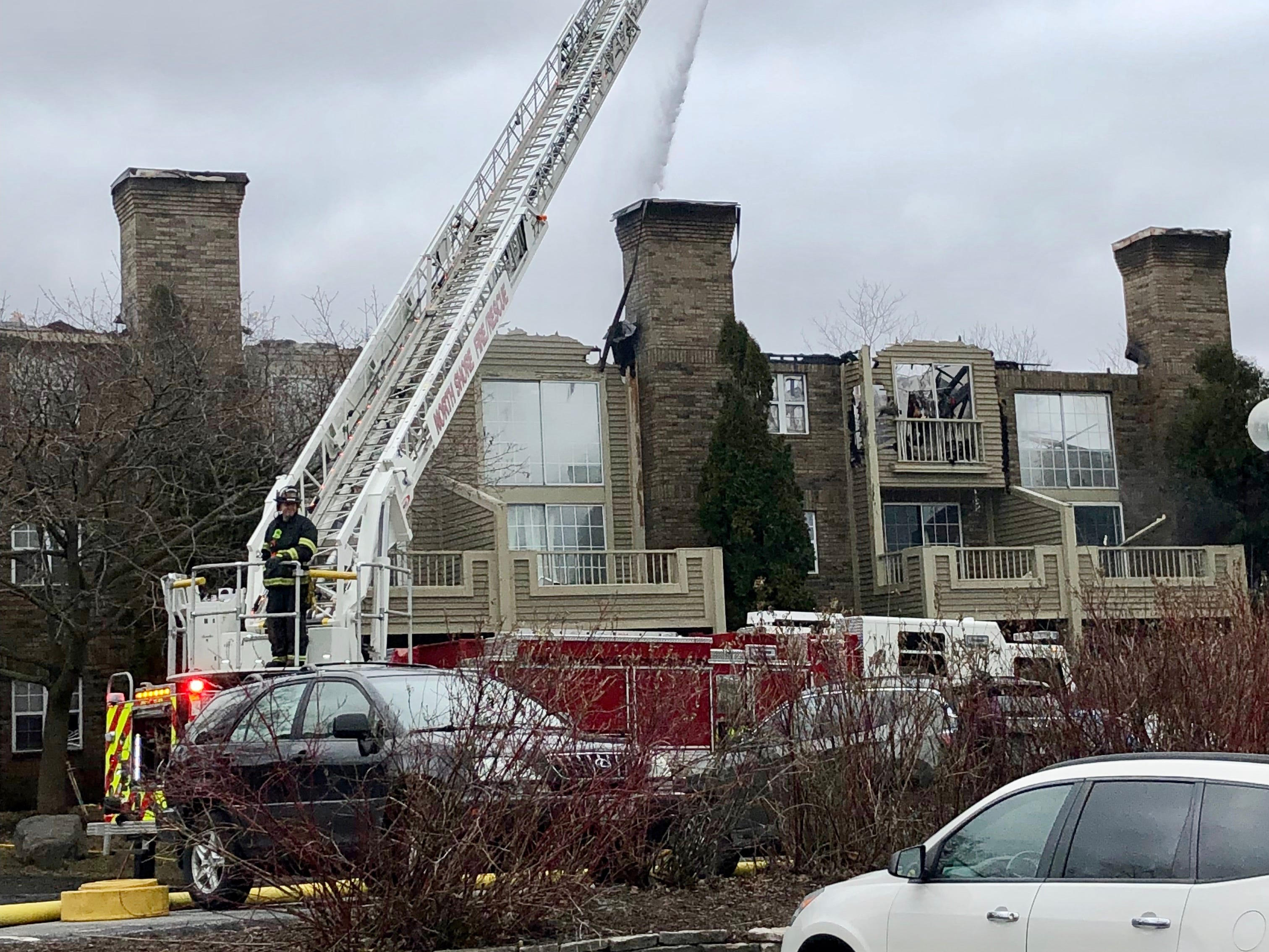 Firefighters struggled to get the blaze under control, in part because of its location, just east of I-43, with the main access to the complex off of North Port Washington Road.